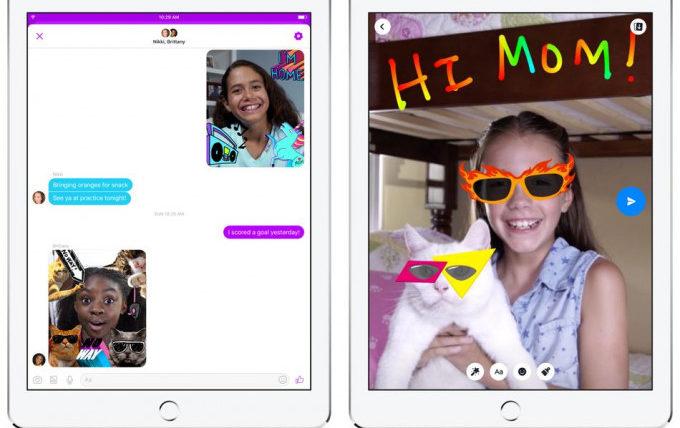 Facebook con l'interfaccia di Messenger Kids